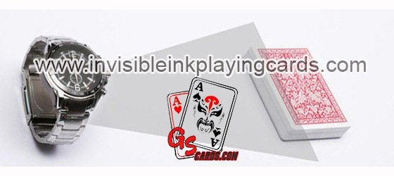 Watch poker cards marking with barocde scanning camera